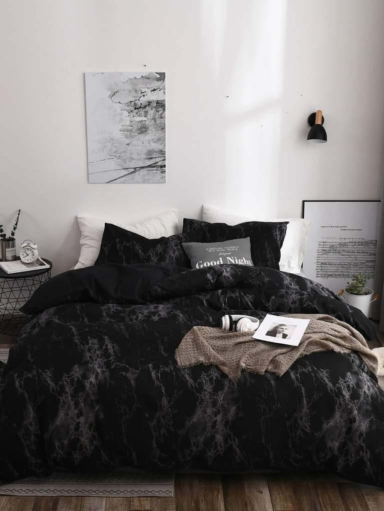 спальня в черных тонах