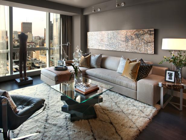 расстановка мебели в прямоугольной гостиной