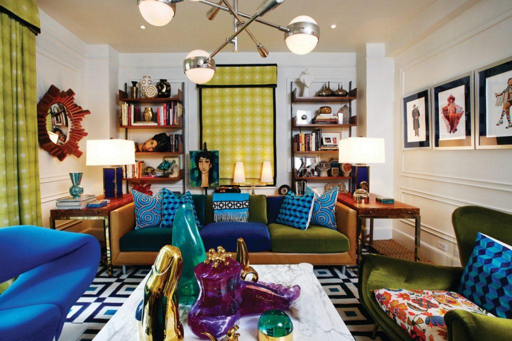 ретро дизайн гостиной