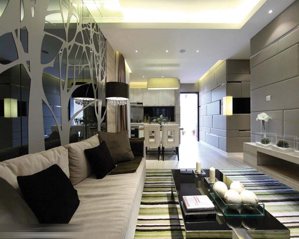 освещение гостиной с натяжным потолком с люстрой