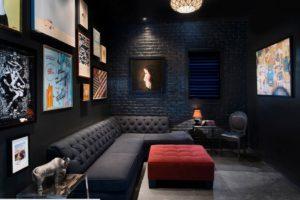 черная гостиная дизайн
