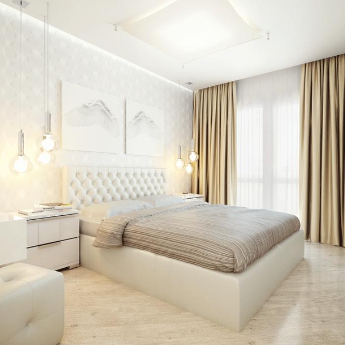 бело бежевая спальня