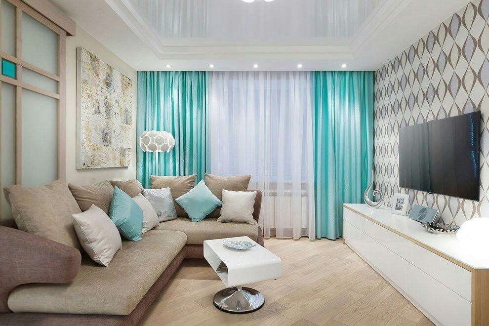 бирюзовая гостиная дизайн