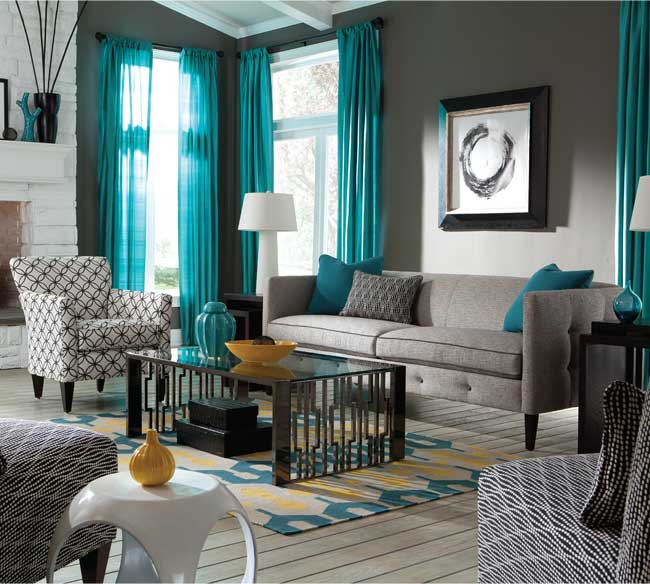 бирюзовый интерьер гостиной фото