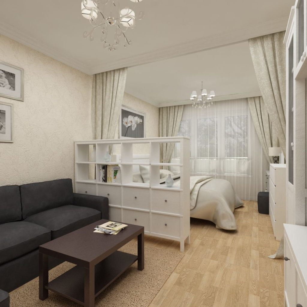 зонирование спального места в однокомнатной