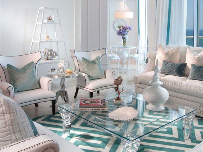 бело бирюзовая гостиная