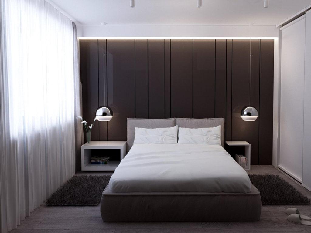 спальня в стиле минимализм с элементами лофта