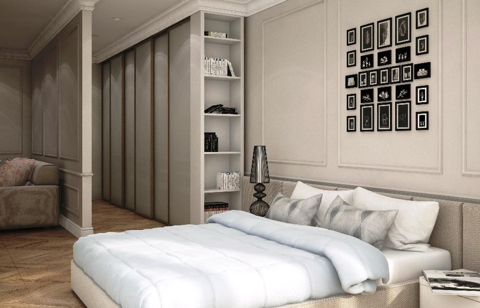 гардеробная в спальне небольшого размера