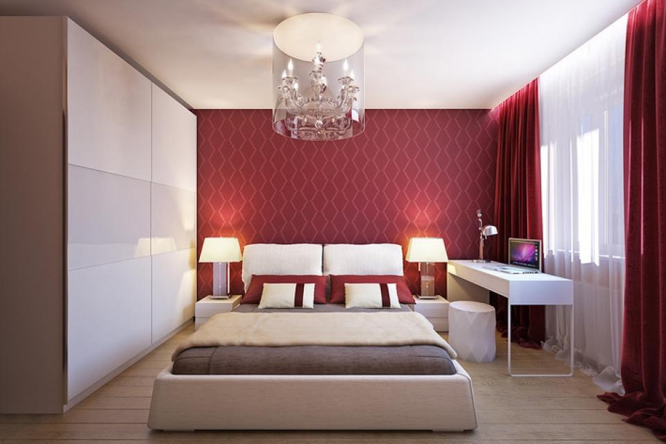 красные занавески в спальню