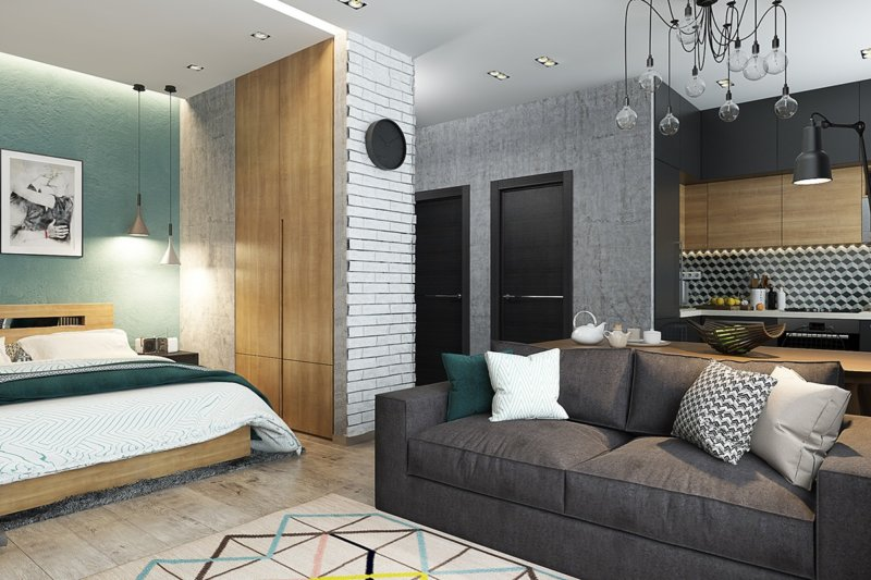 дизайн однокомнатной квартиры обои