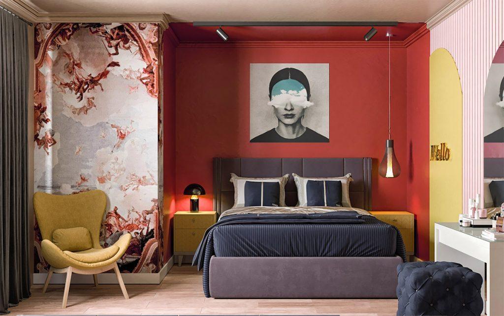 спальня в черно красном стиле