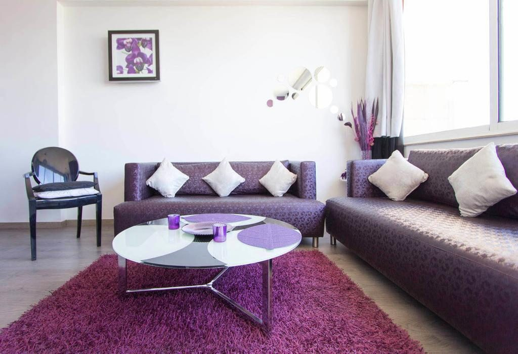сочетание фиолетового цвета в интерьере