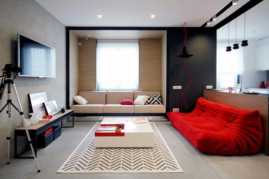 красный в интерьере гостиной