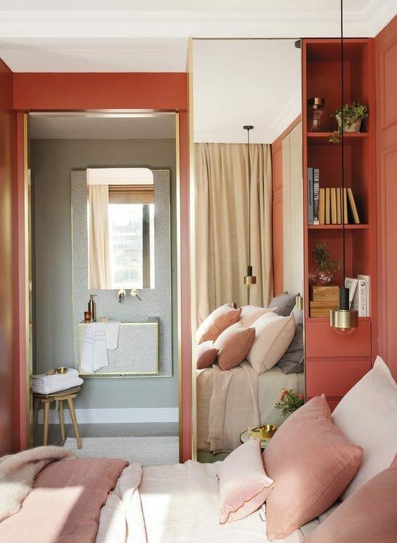 коралловая спальня интерьер