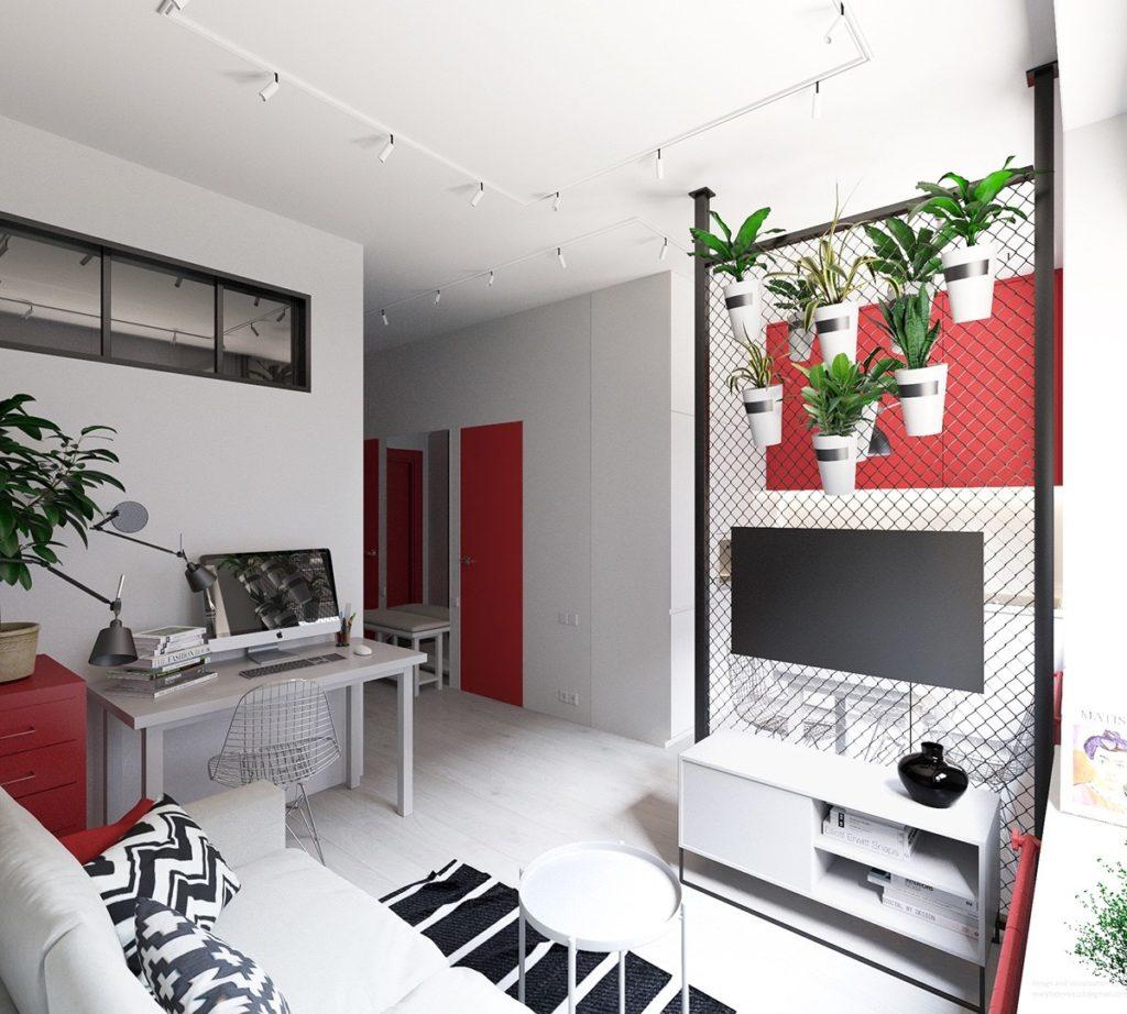 интерьер красного цвета фото