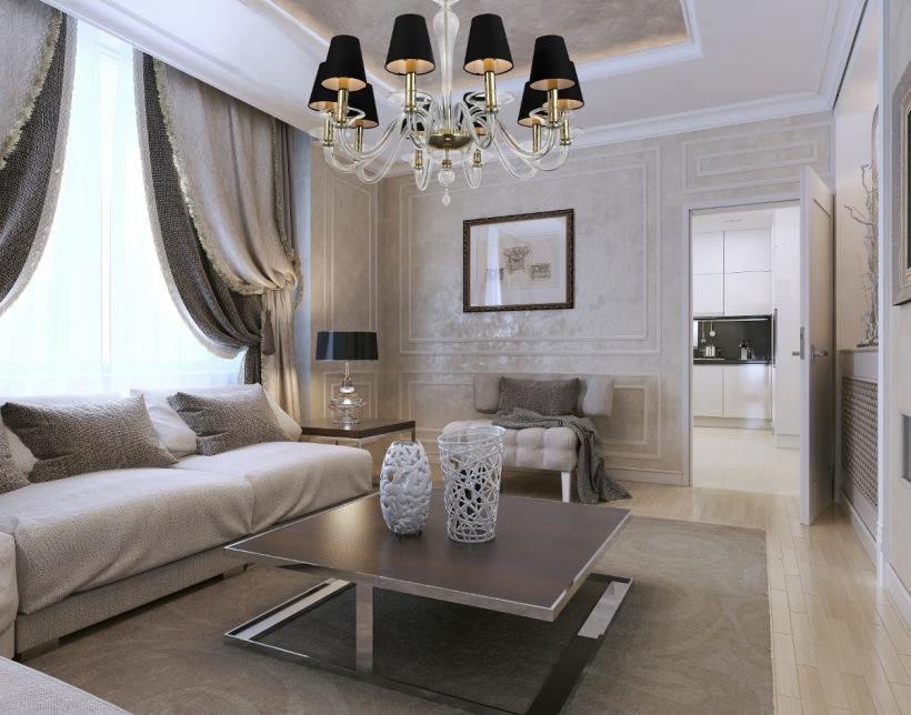 золотой интерьер гостиной