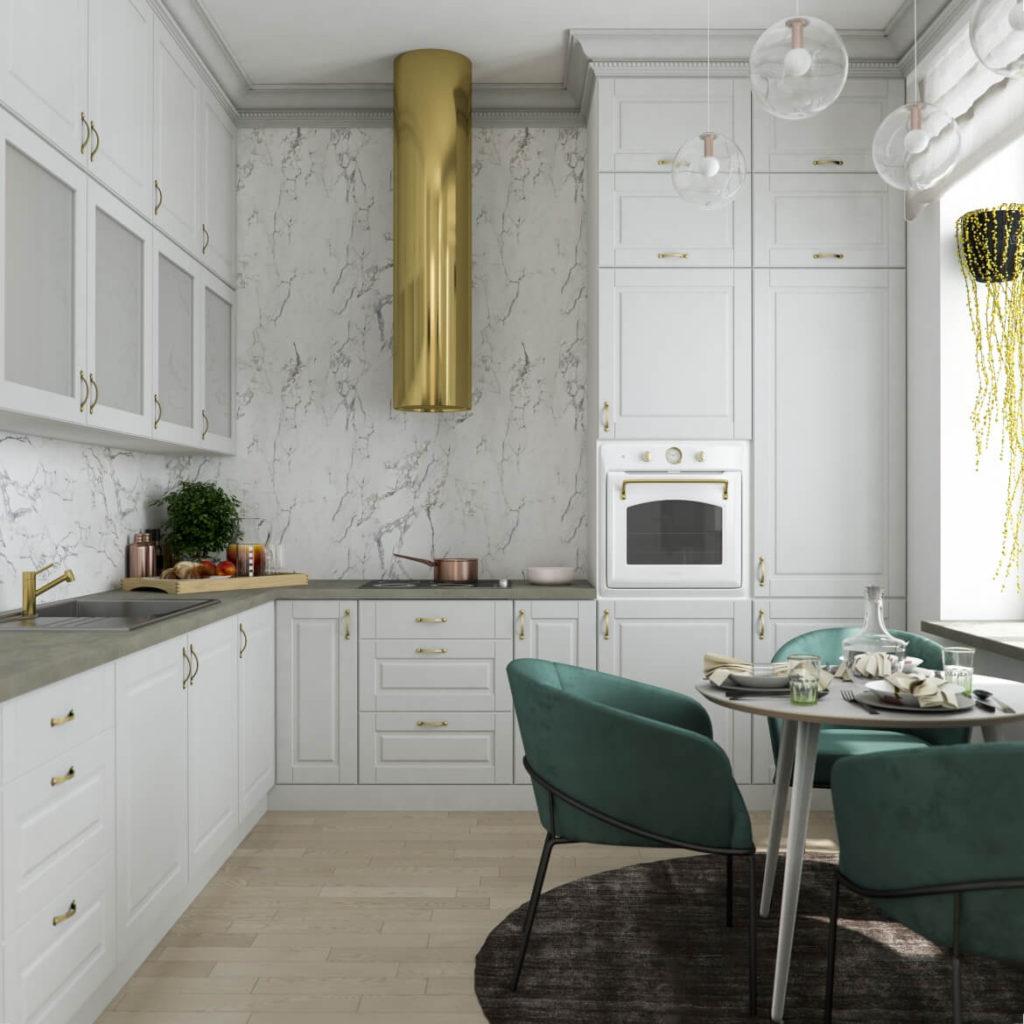 интерьер кухни с золотом