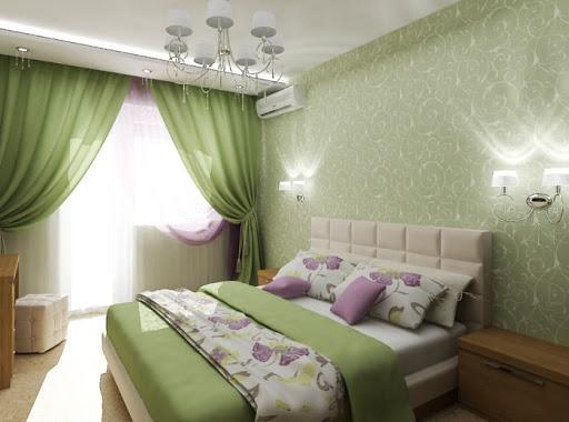 темно зеленая спальня