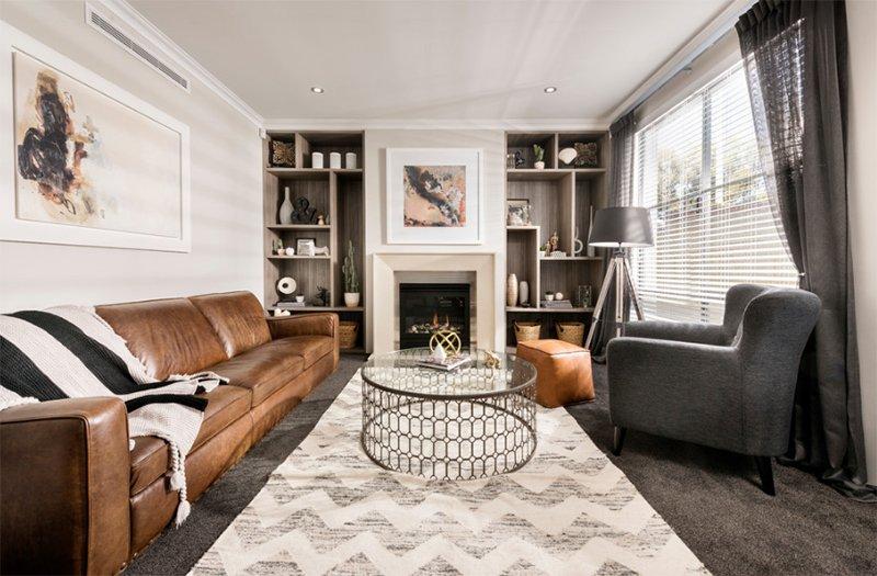 дизайн коричневой гостиной