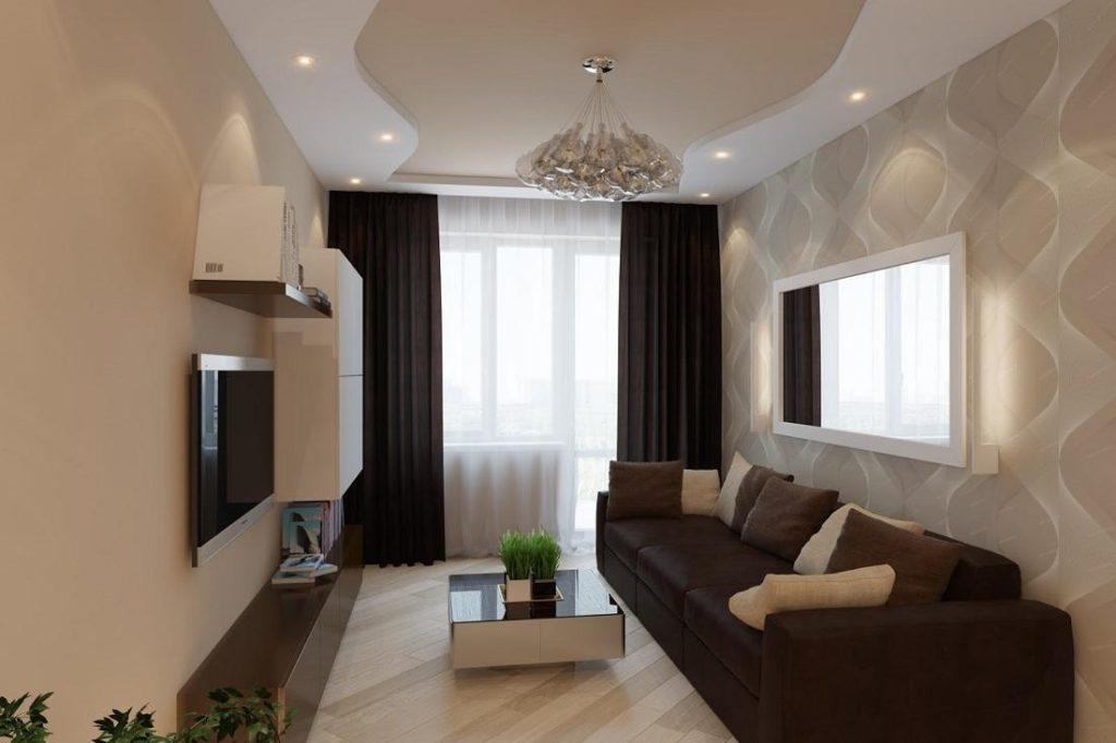 интерьер гостиной коричневого цвета