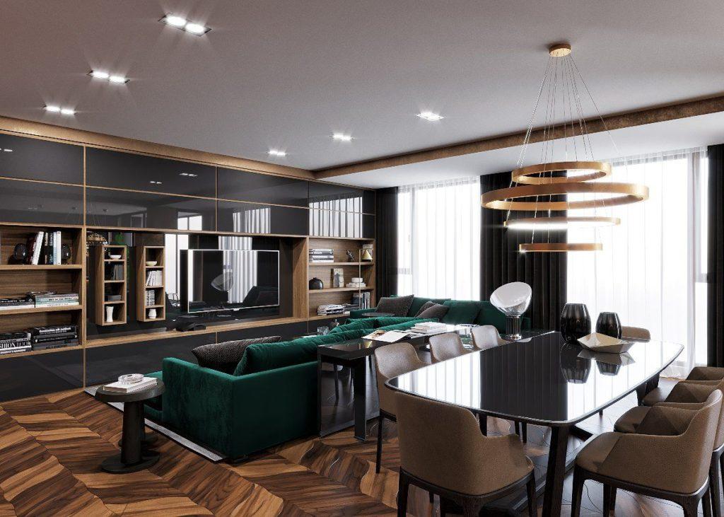 гостиная в коричневом стиле