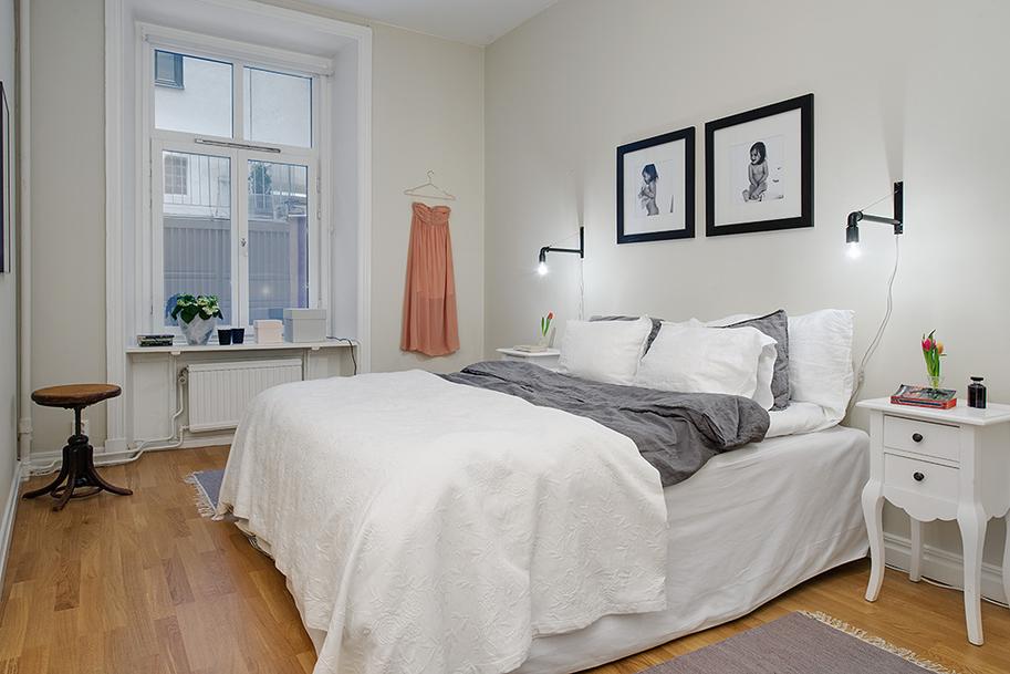 скандинавский интерьер спальни фото