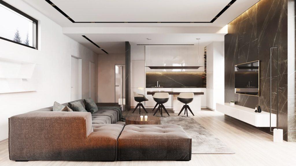 гостиная с коричневой мебелью