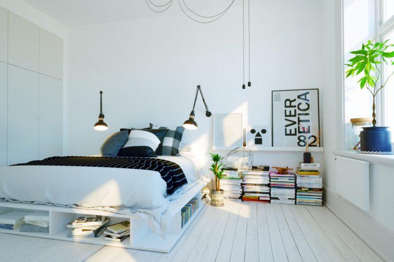 белая скандинавская спальня