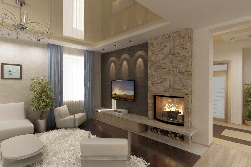 камин в гостиной в доме