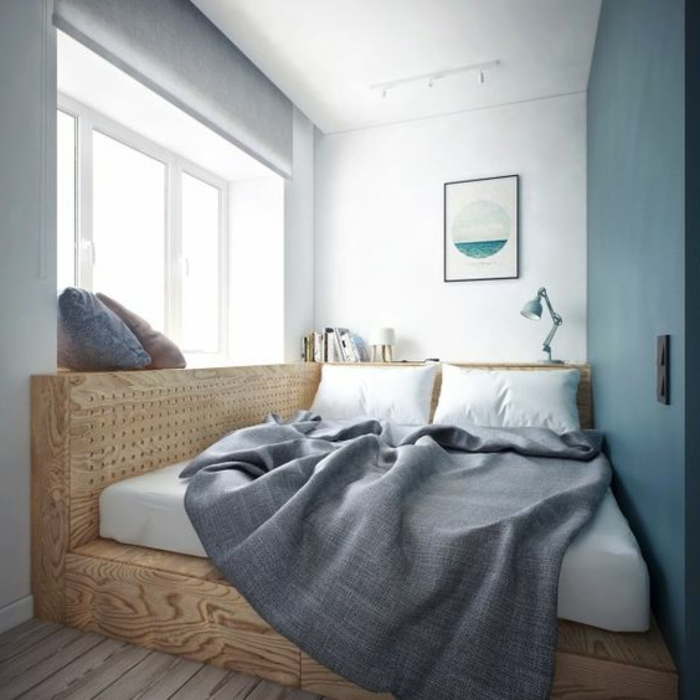 спальня в узкой комнате