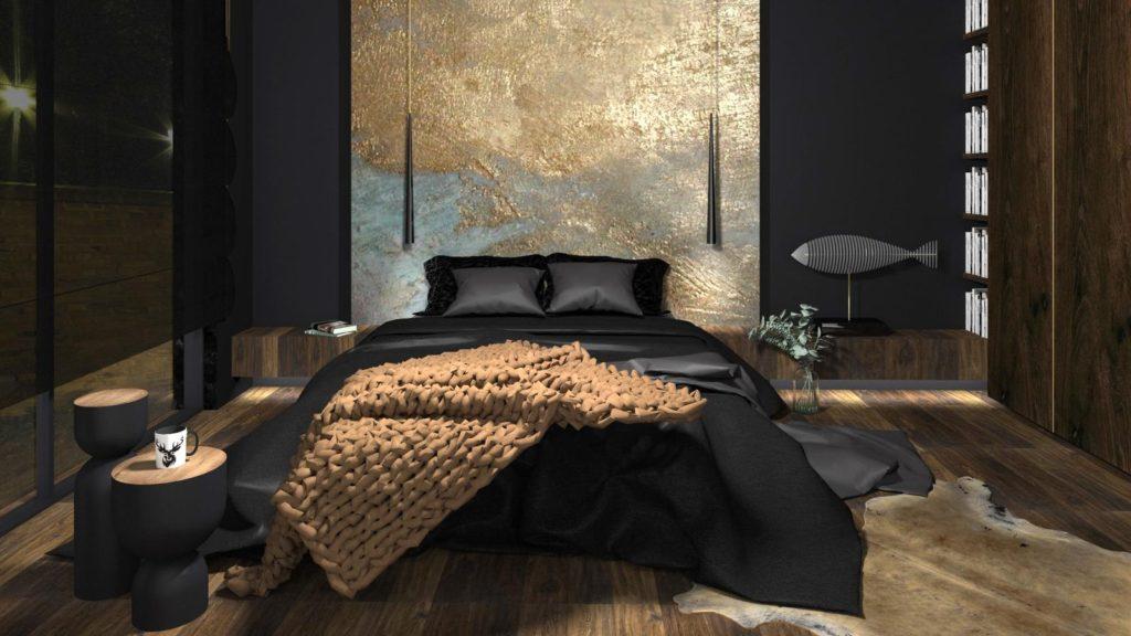 темно серый интерьер спальни