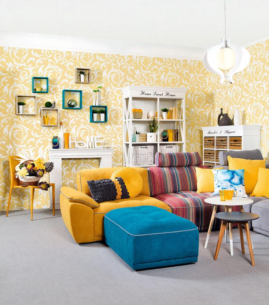 дизайн с желтым диваном