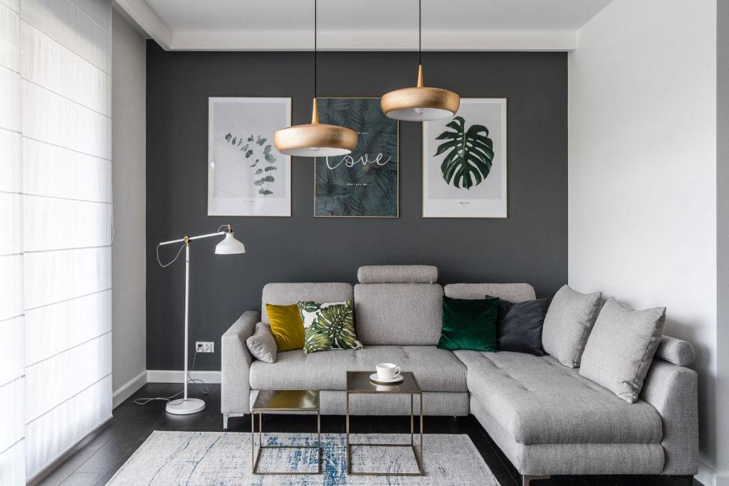 серый угловой диван фото