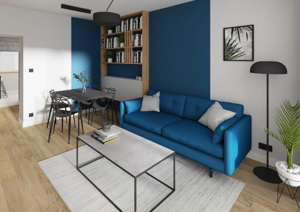 синий диван в гостиной с чем сочетать