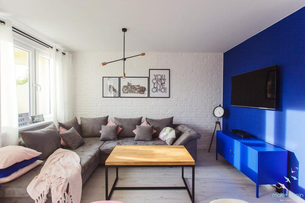 гостиная в сине сером цвете