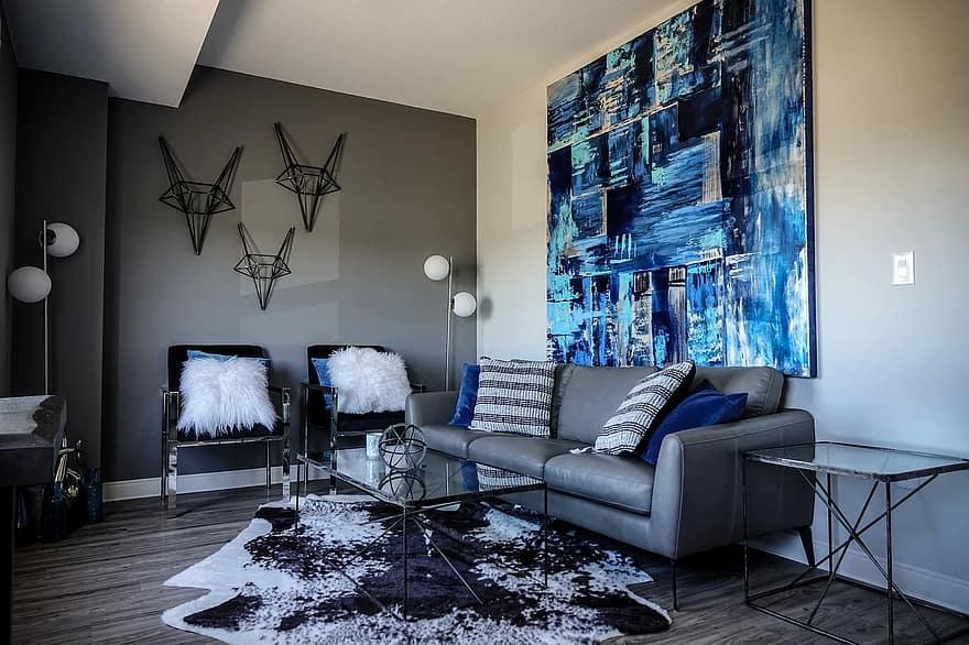 сине голубая гостиная