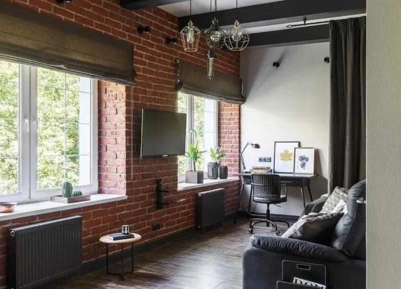 гостиная лофт  квартире