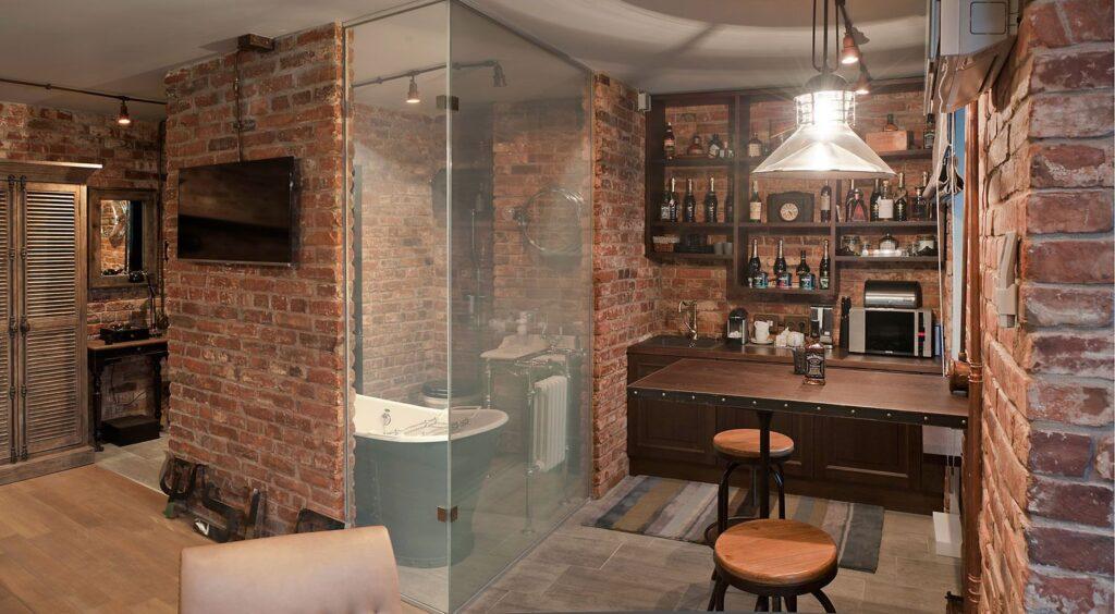 гостиная лофт стены