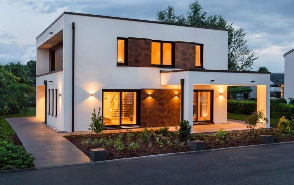дома с плоской крышей и панорамными окнами