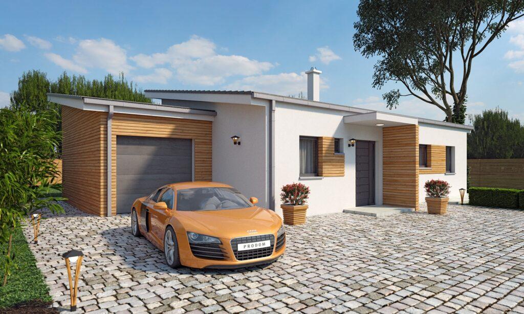 одноэтажный дом +с плоской крышей
