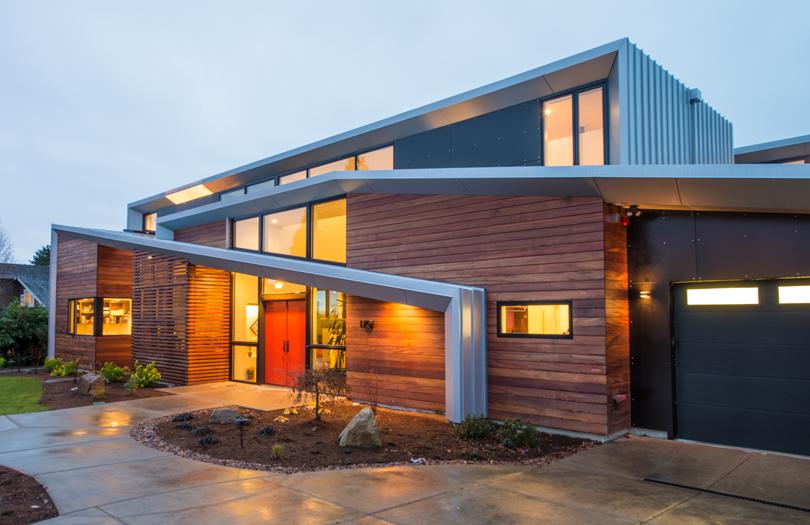 проекты домов с плоской крышей до 100