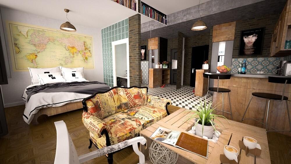 зона спальни гостиной