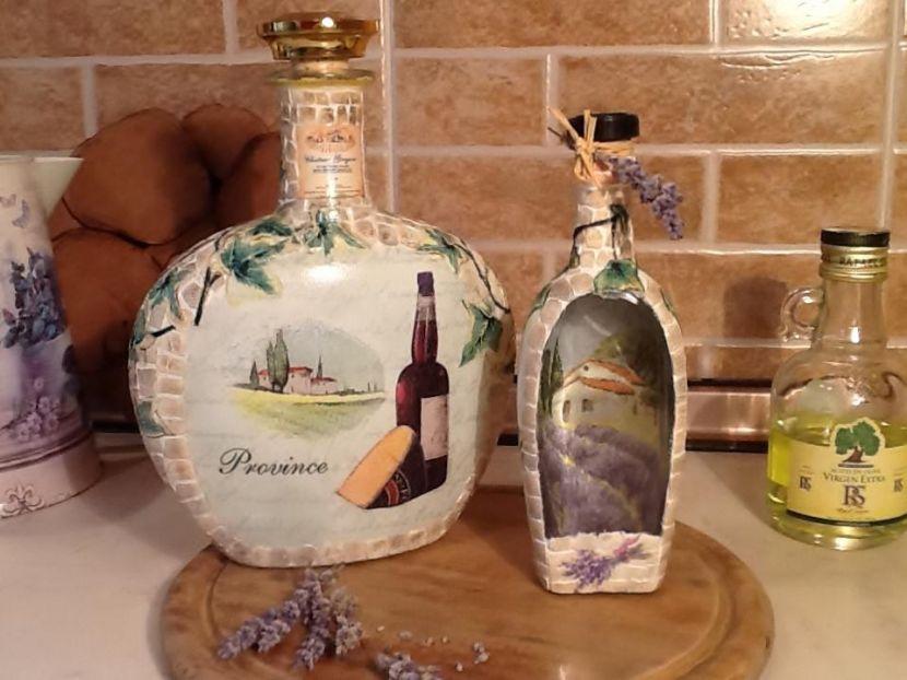 декупаж на бутылке