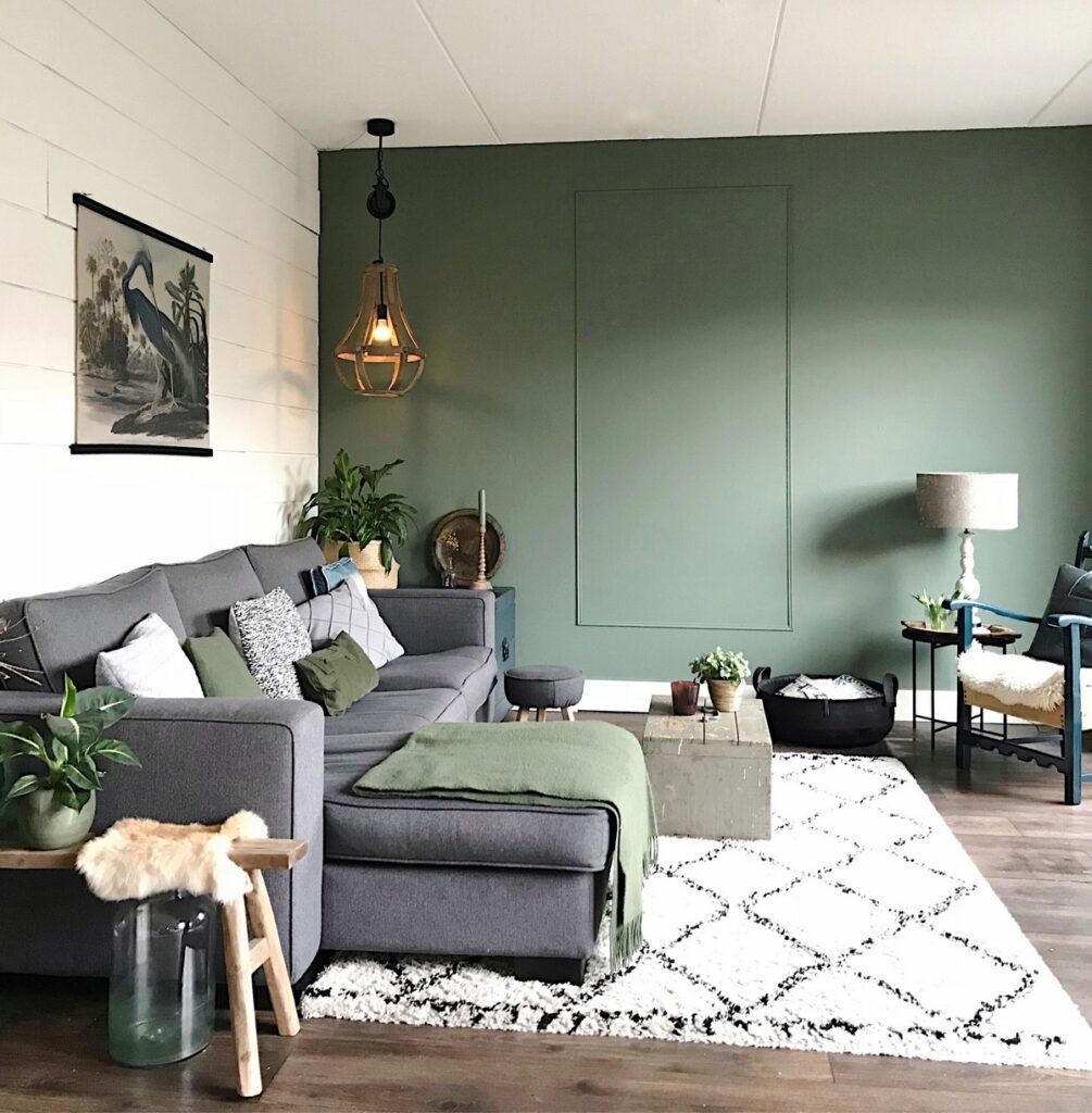 оливковый интерьер гостиной