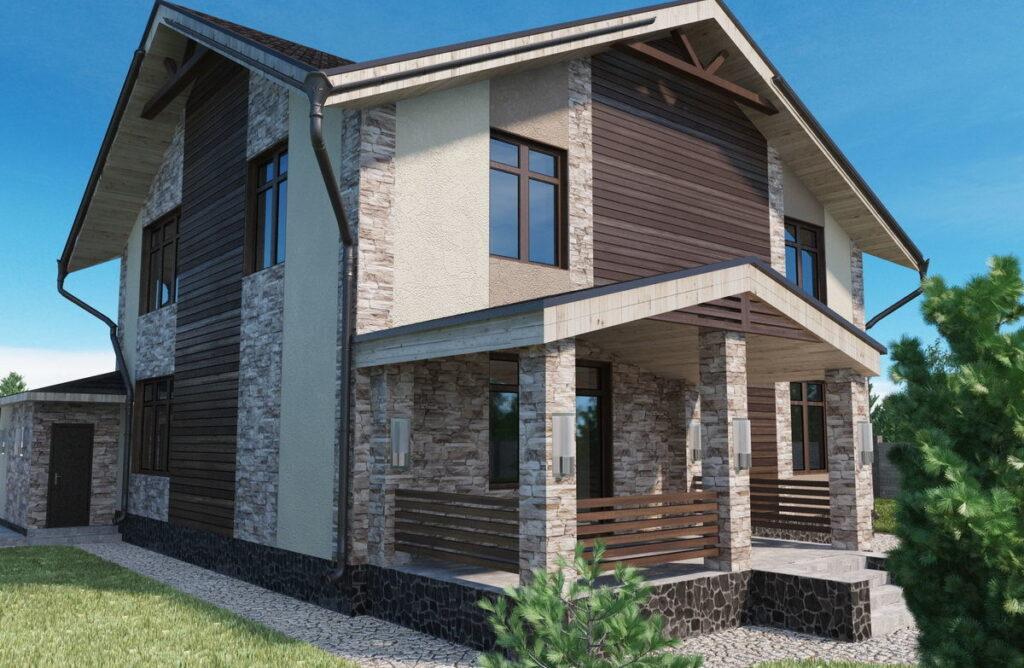 каменно каркасный дом