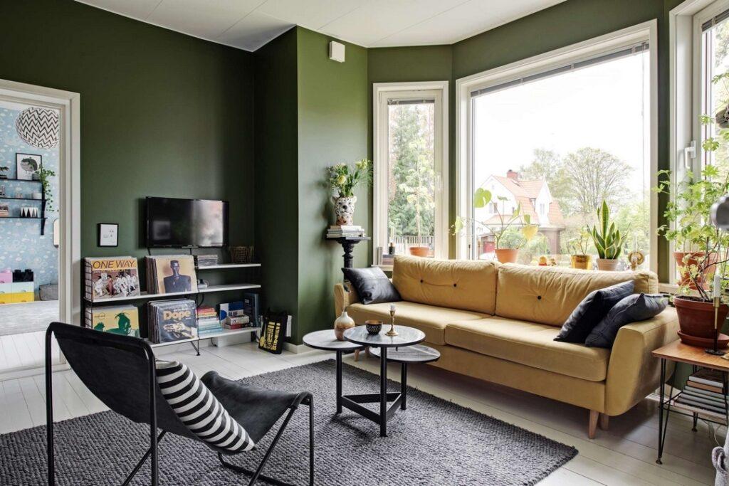 оливковый цвет стен в интерьере
