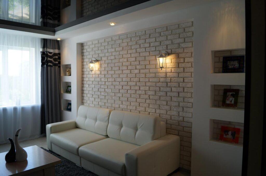 дизайн стена белый кирпич