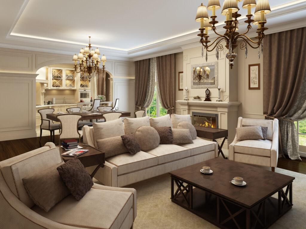 коричневые интерьеры гостиной фото