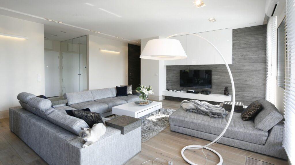 серый интерьер гостиной