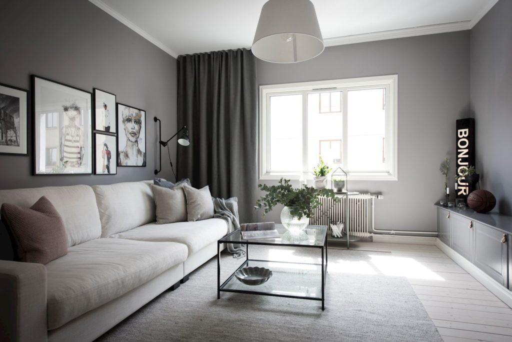 бело серый интерьер гостиной